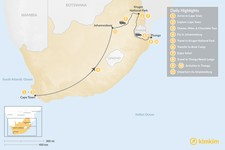 Map thumbnail of Explore South Africa: Cape Town, Johannesburg, Safari, & Beach - 11 Days