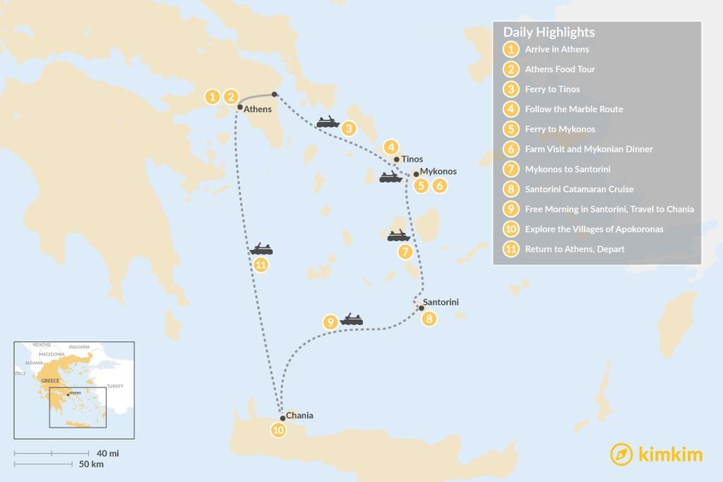 Map of Laid-Back Athens, Tinos, Mykonos, Santorini, and Crete - 11 Days