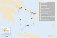 Map thumbnail of Laid-Back Athens, Tinos, Mykonos, Santorini, and Crete - 11 Days