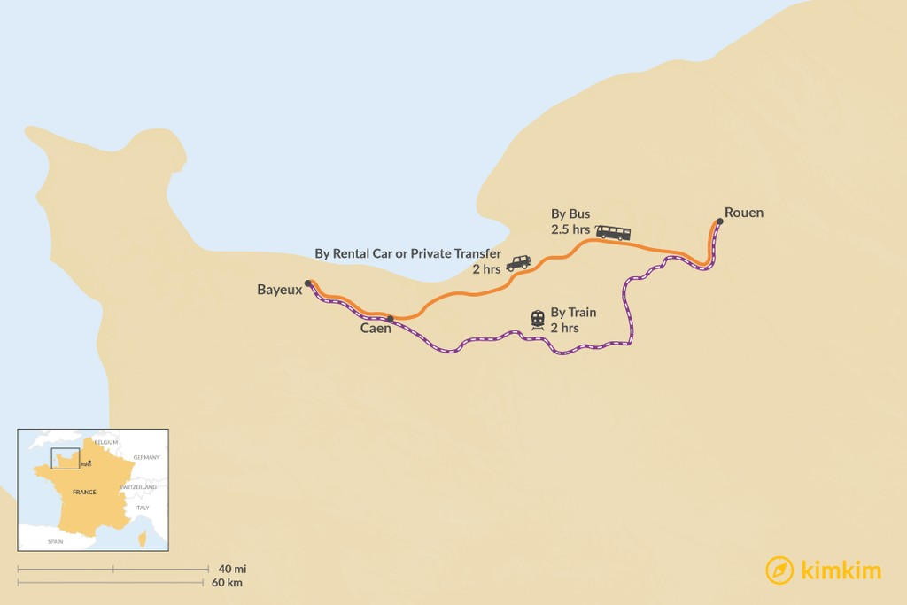 Map of How to Get from Rouen to Bayeux