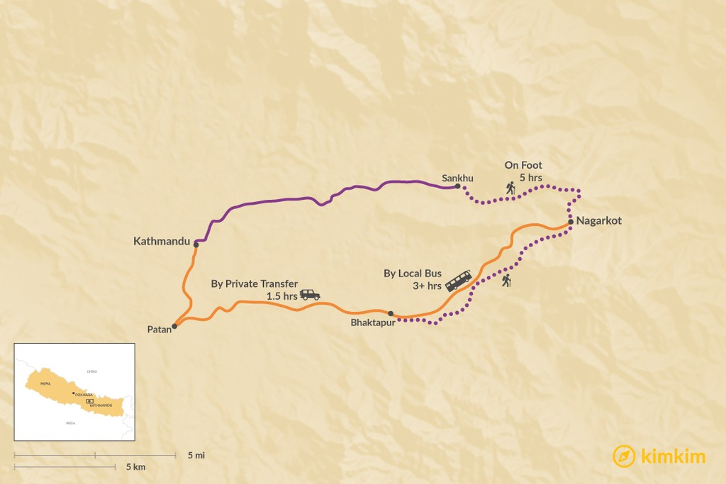 Map of How to Get from Kathmandu to Nagarkot