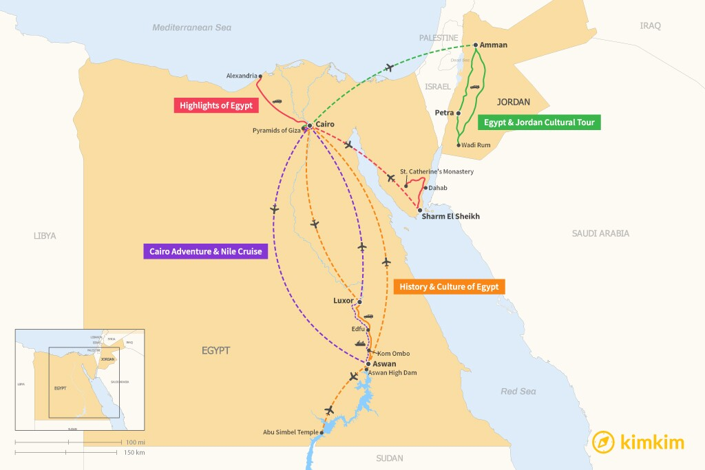 Map of 7 Days in Egypt - 4 Unique Itineraries