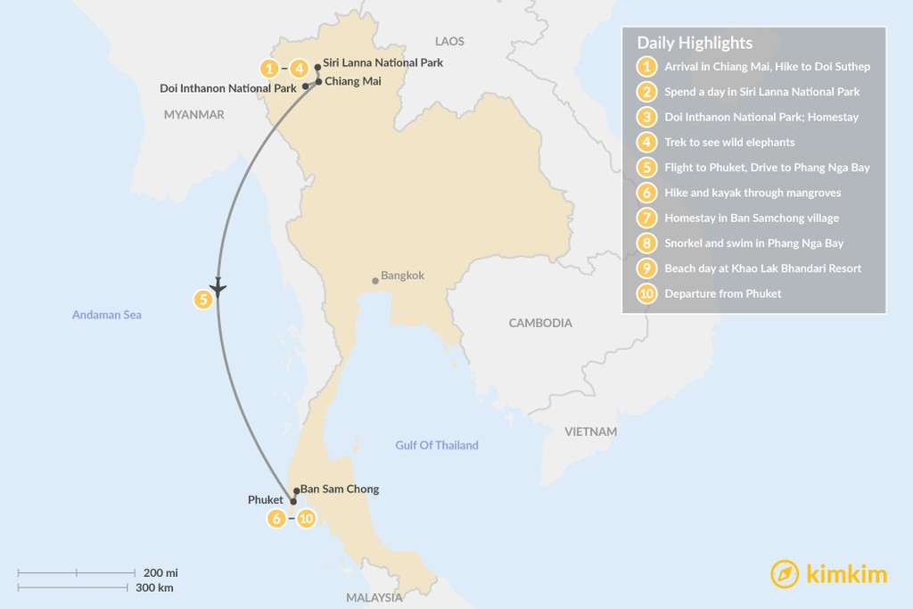 Map of Thailand Family Adventure - 10 Days