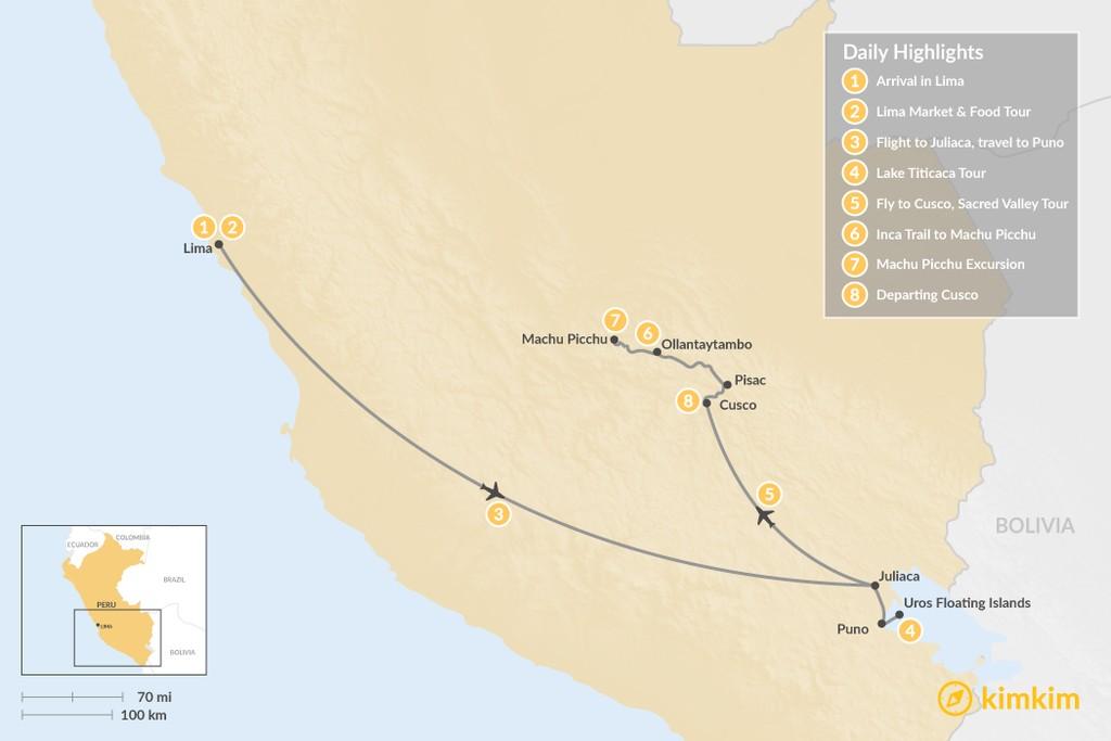 Map of Lake Titicaca & Short Inca Trail - 8 Days