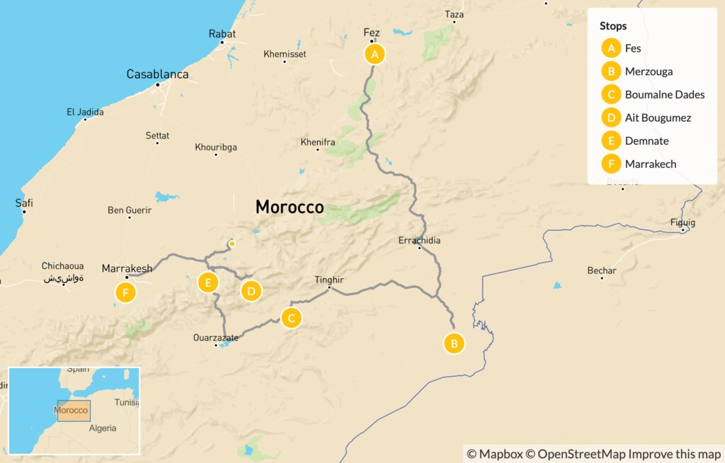 Map of Moroccan Adventure from Fes to Marrakech: Fes, Merzouga, Boumalne Dades,  Marrakech & More - 10 Days