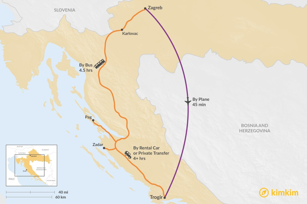 Map of How to Get from Zagreb to Trogir