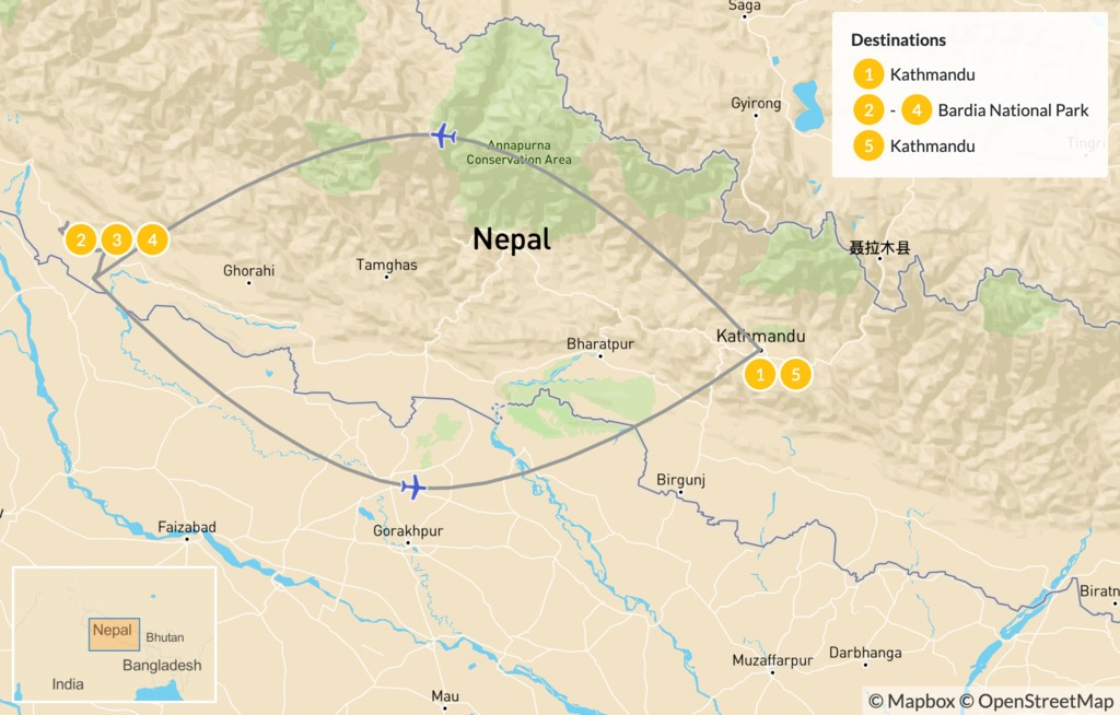 Map of Wild & Remote West Nepal - 6 Days
