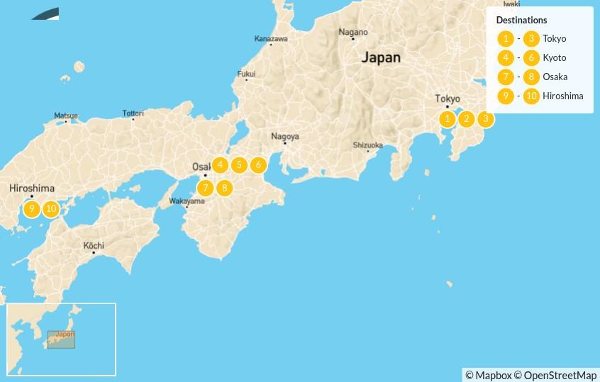 Map of Japan's Big Four: Tokyo, Kyoto, Osaka & Hiroshima - 10 Days