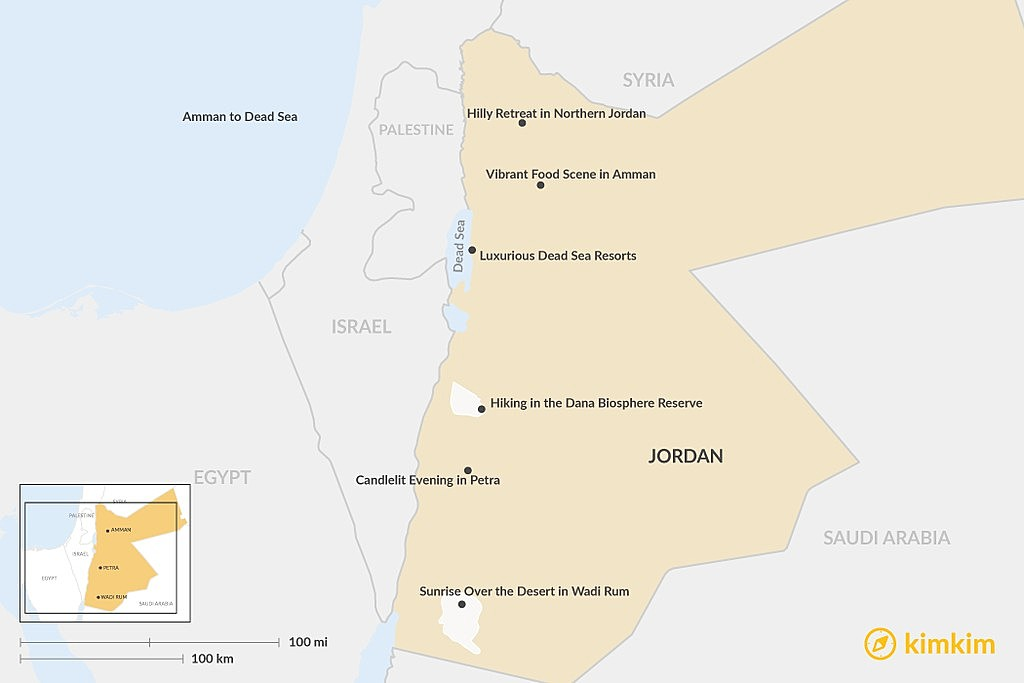 Map of Planning Your Honeymoon in Jordan