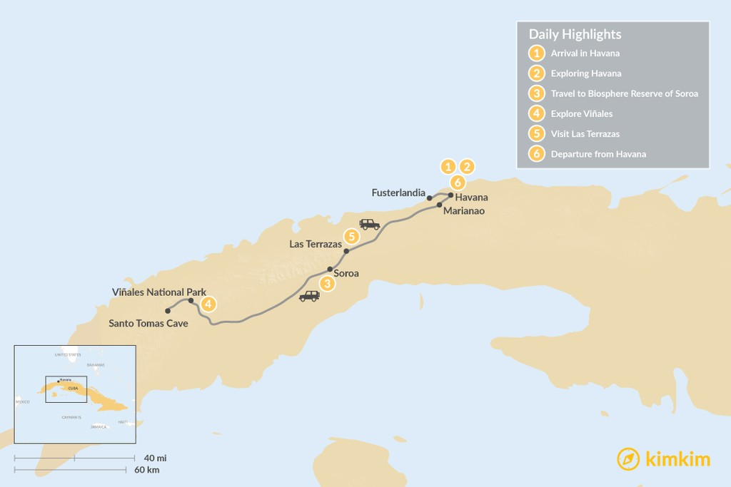 Map of Western Cuba Journey: 6 Days