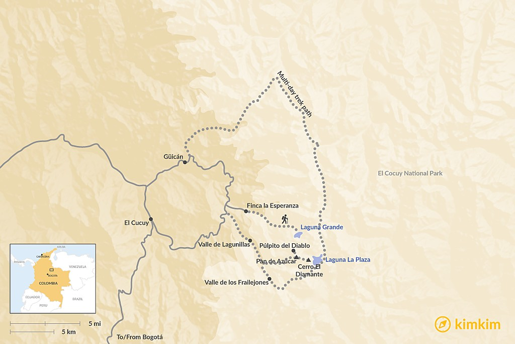 Map of Ultimate Guide to Hiking in El Cocuy National Park