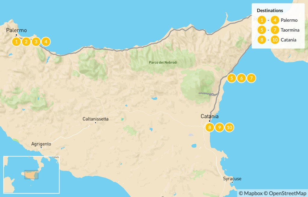 Map of Best of Sicily: Palermo, Taormina, Catania - 11 Days