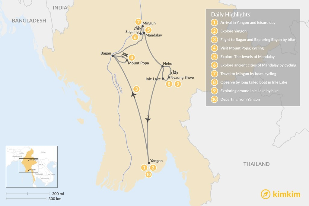 Map of Explore Myanmar by Bike - 10 Days