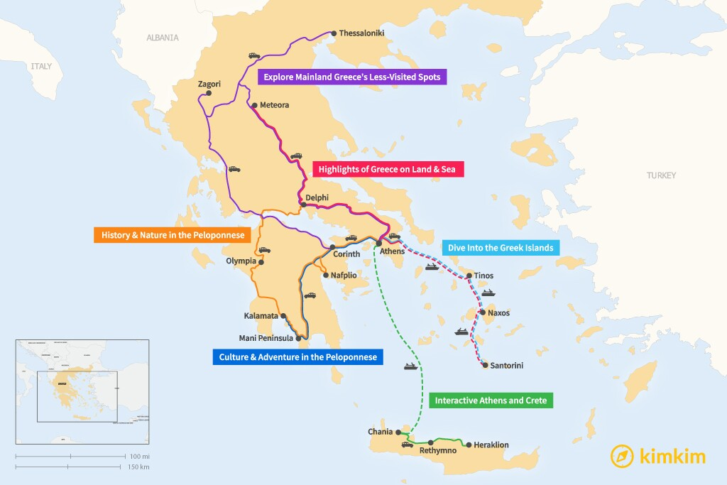 Map of 14 Days in Greece - 6 Family-Friendly Itineraries