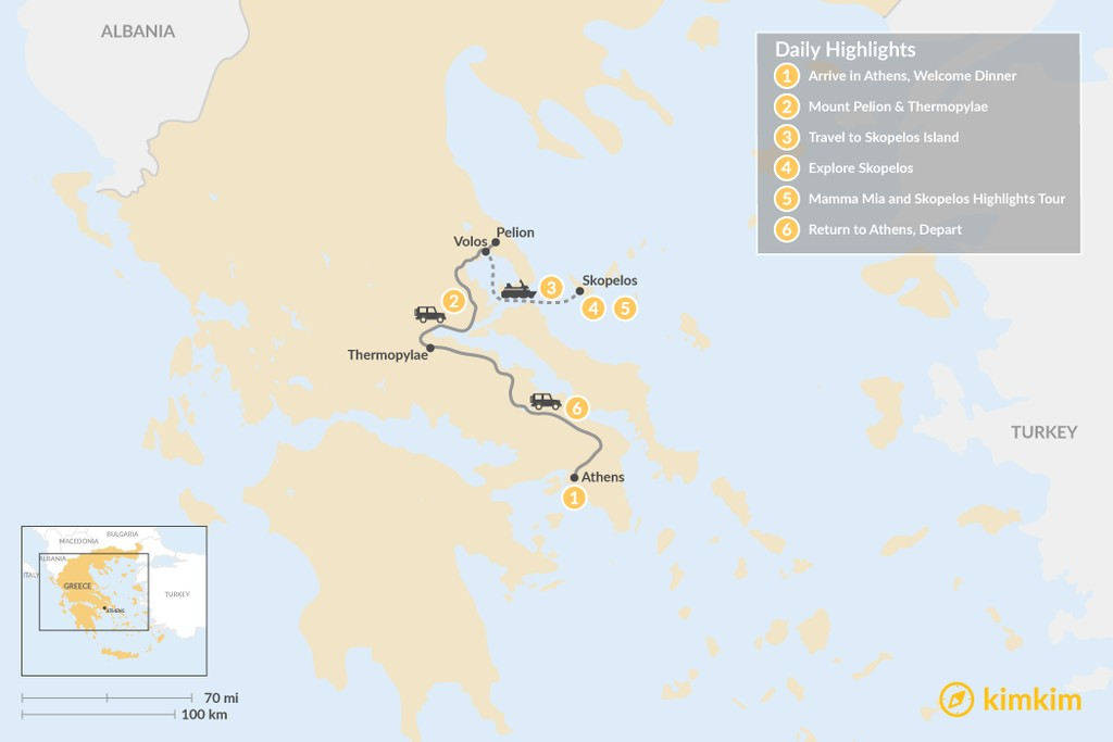 Map of Central Greece & Skopelos Exploration - 6 Days