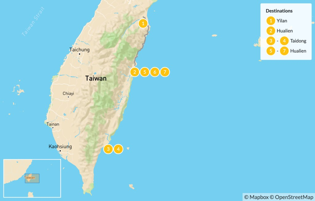 Map of Off the Beaten Path in Eastern Taiwan - 7 Days