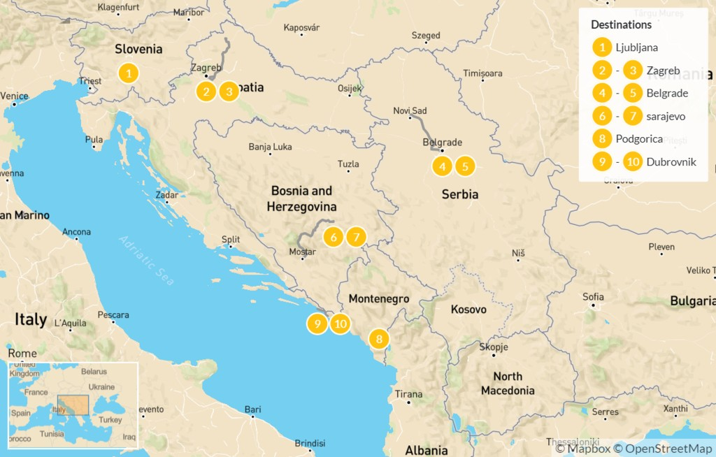 Map of Capitals of Southeastern Europe: Slovenia to Montenegro - 11 Days