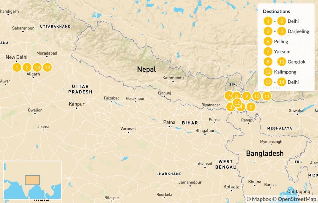 Map of Cultural Northwest India: Darjeeling & Sikkim - 14 Days