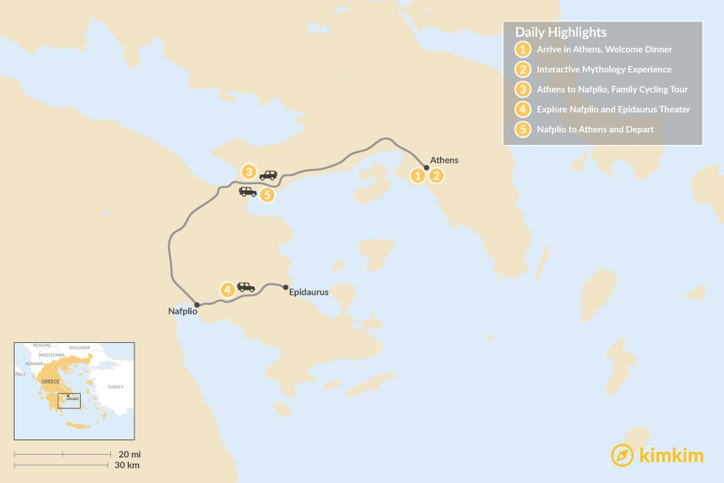 Map of Family Holiday in Athens and Nafplio - 5 Days