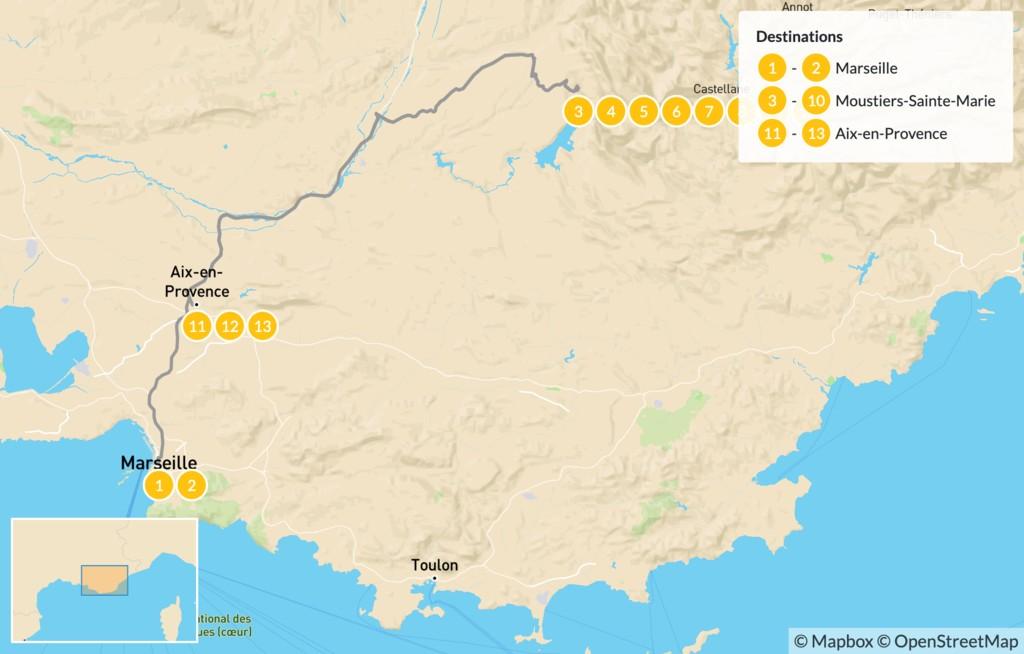 Map of Provençal Alps Adventure: Marseille, Verdon, &  Aix-en-Provence - 14 Days