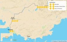 Map thumbnail of Provençal Alps Adventure: Marseille, Verdon, &  Aix-en-Provence - 14 Days