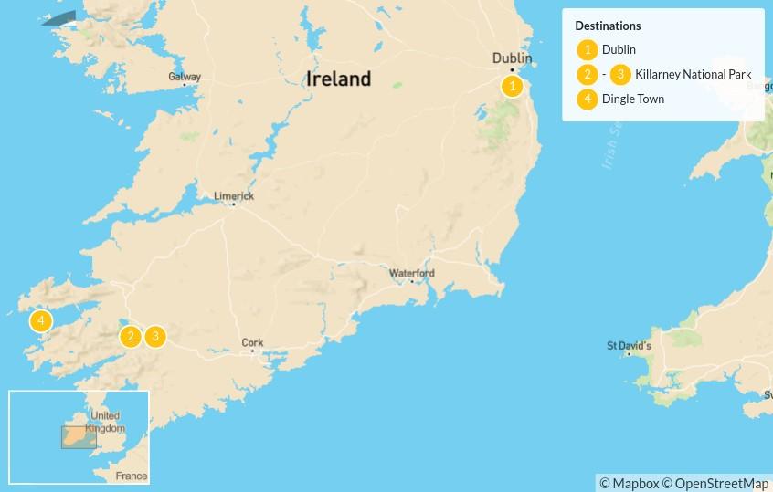 Map of Ireland Self-Driving Tour: Dublin, Killarney & Dingle - 5 Days