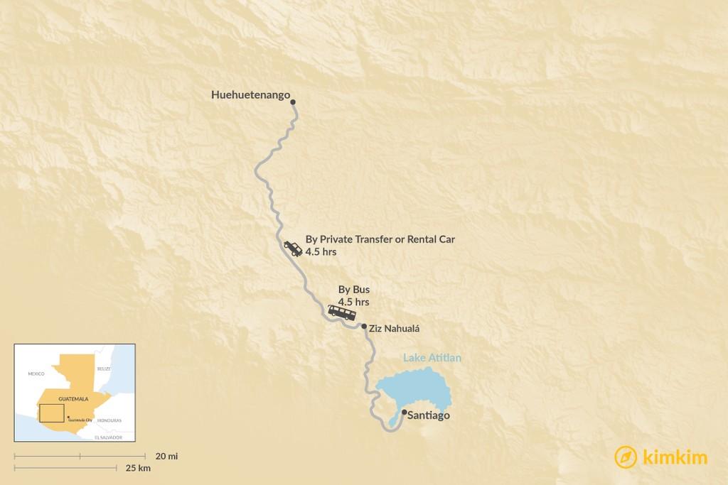 Map of How to Get from Lake Atitlan to Huehuetenango