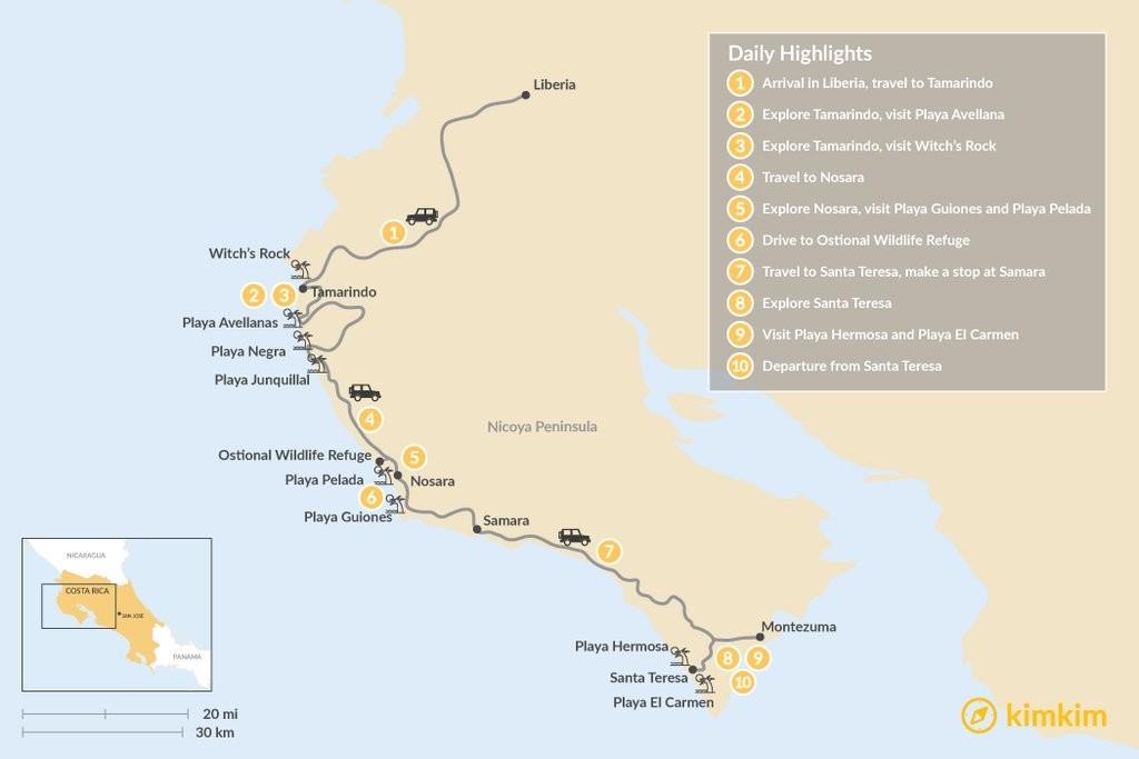 Map of Nicoya Peninsula Surf & Yoga Adventure - 10 Days