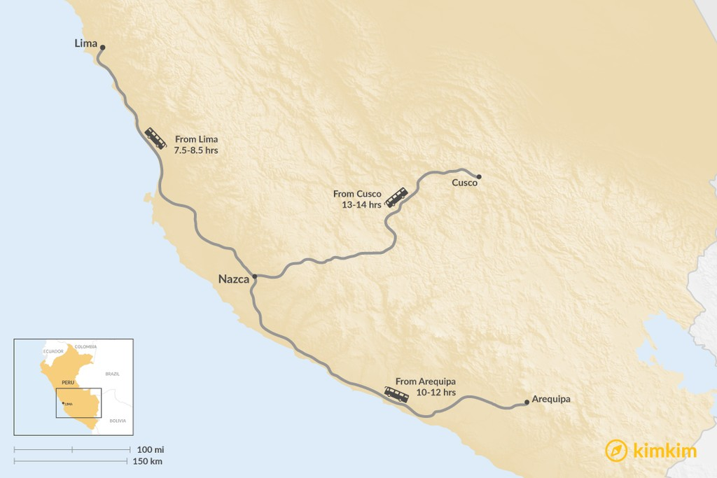 Map of How to Get to the Nazca Lines
