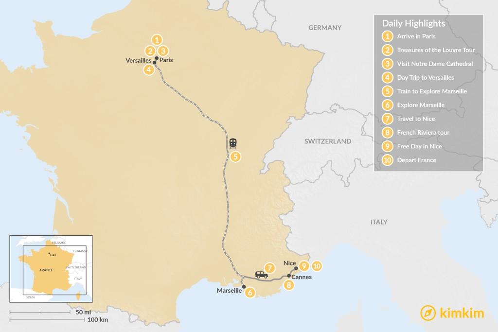 Map of French Panorama: Paris, Marseille & Nice - 10 Days