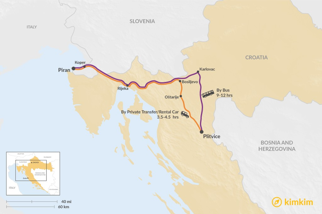 Map of How to Get from Piran to Plitvice Lakes National Park