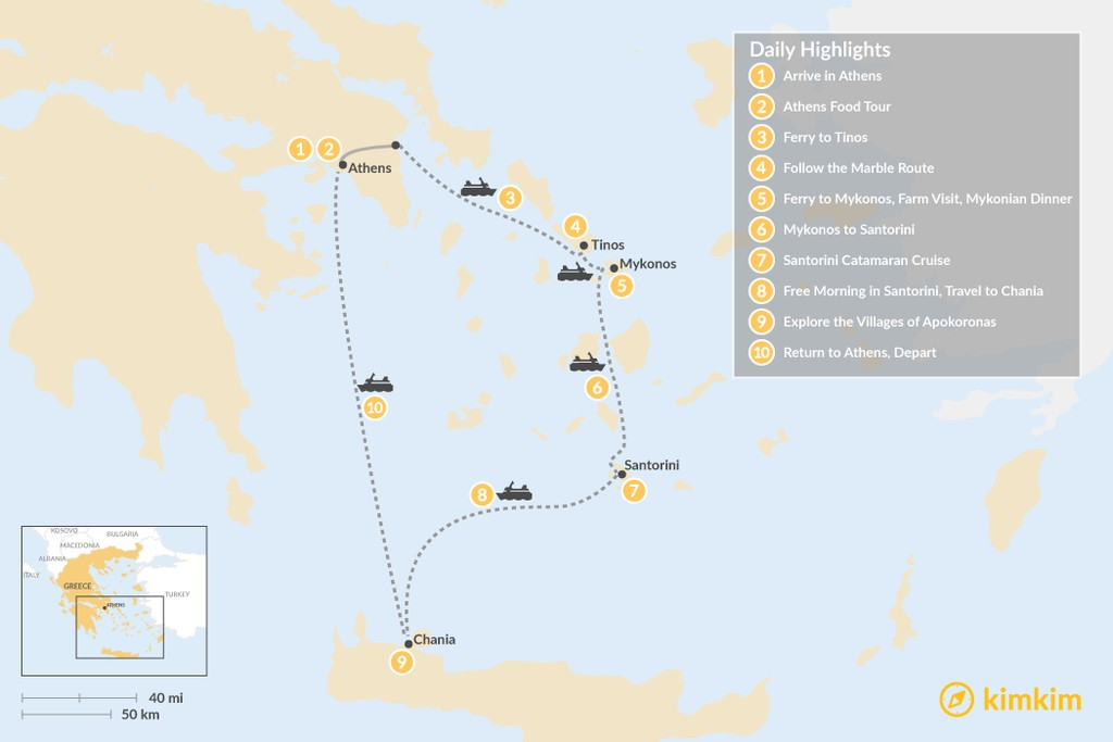 Map of Laid-Back Athens, Tinos, Mykonos, Santorini, and Crete - 10 Days