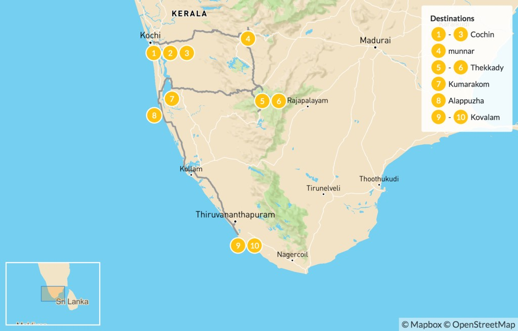 Map of Beaches, Canals & Hills of Kerala - 11 Days