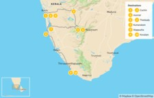 Map thumbnail of Beaches, Canals & Hills of Kerala - 11 Days