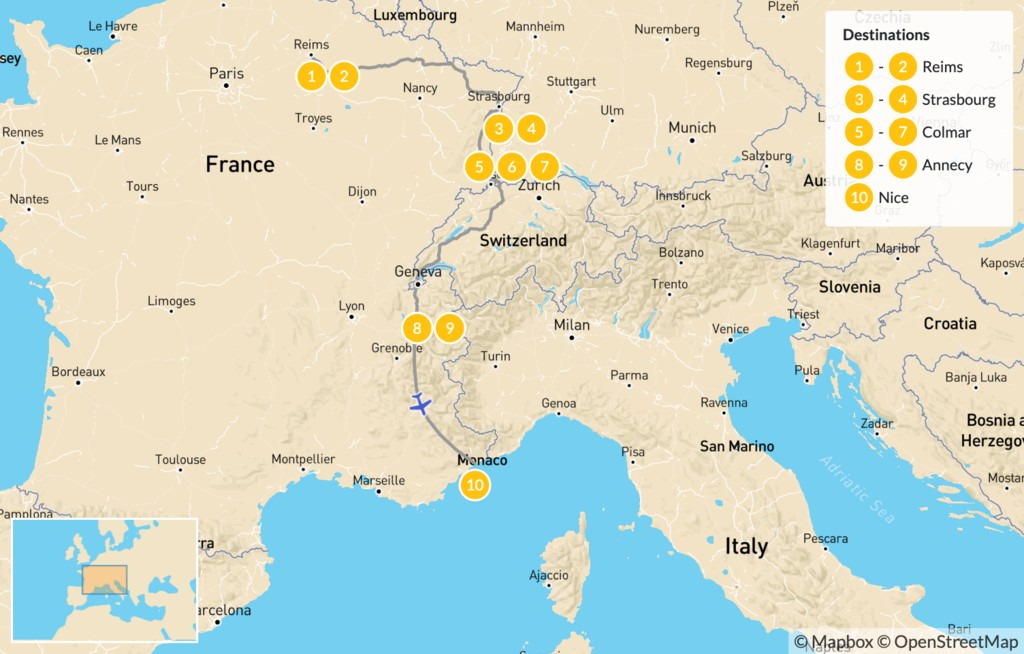 Map of Highlights of Eastern France: Reims, Strasbourg, Colmar, Annecy, & More - 11 Days