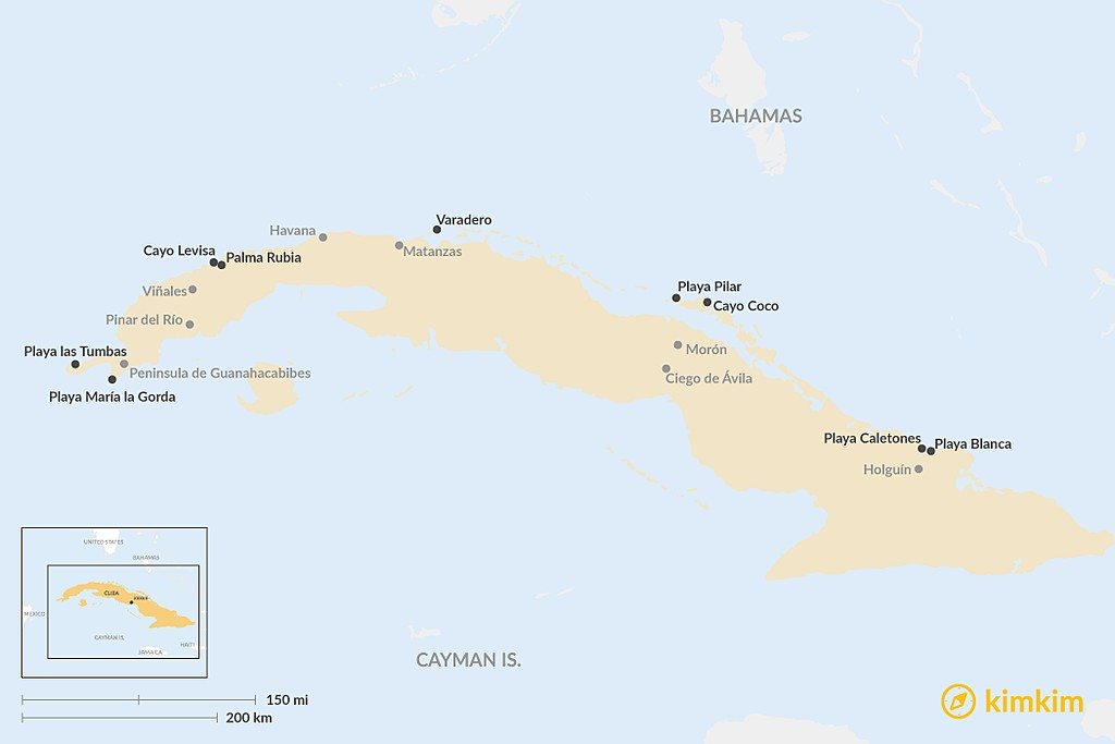 Map of Best Beaches in Cuba