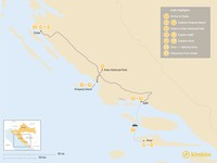 Map thumbnail of Dalmatian Coast Family Holiday: Zadar, Split, Hvar, & More - 15 Days