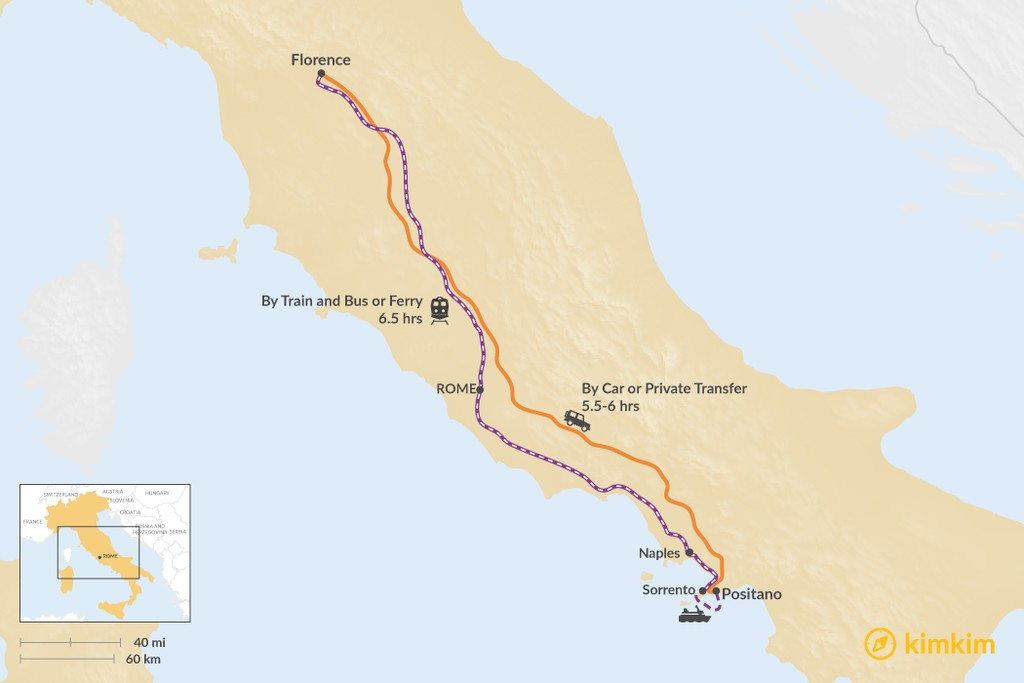 Map of How to Get from Florence to Positano