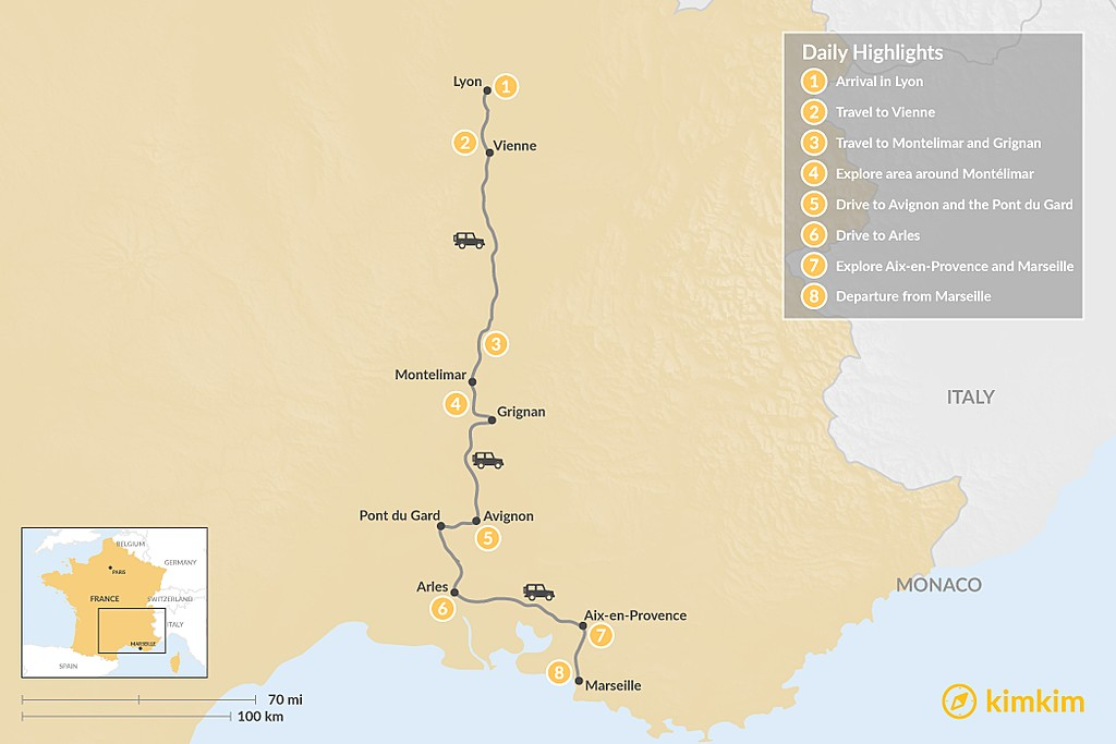 Map of Culinary Rhône Valley Tour: Lyon to Marseille - 8 Days