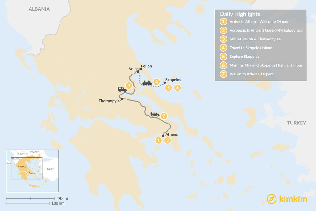 Map of Central Greece & Skopelos Exploration - 7 Days