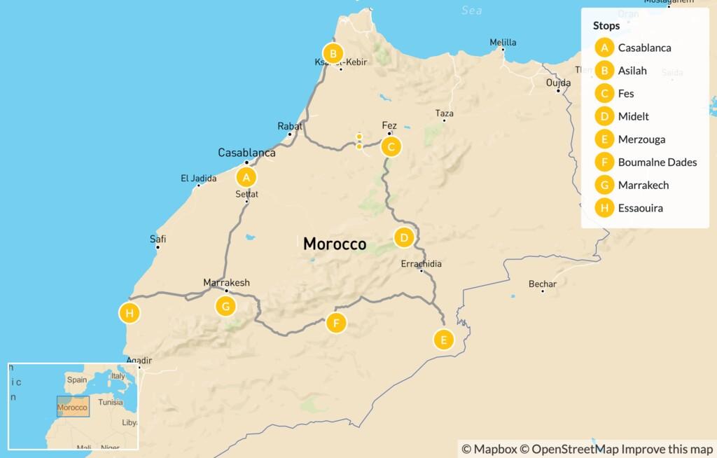 Map of Highlights of Morocco: Fes, Atlas Mountains, Dades Valley, Marrakech & Essaouira - 14 Days