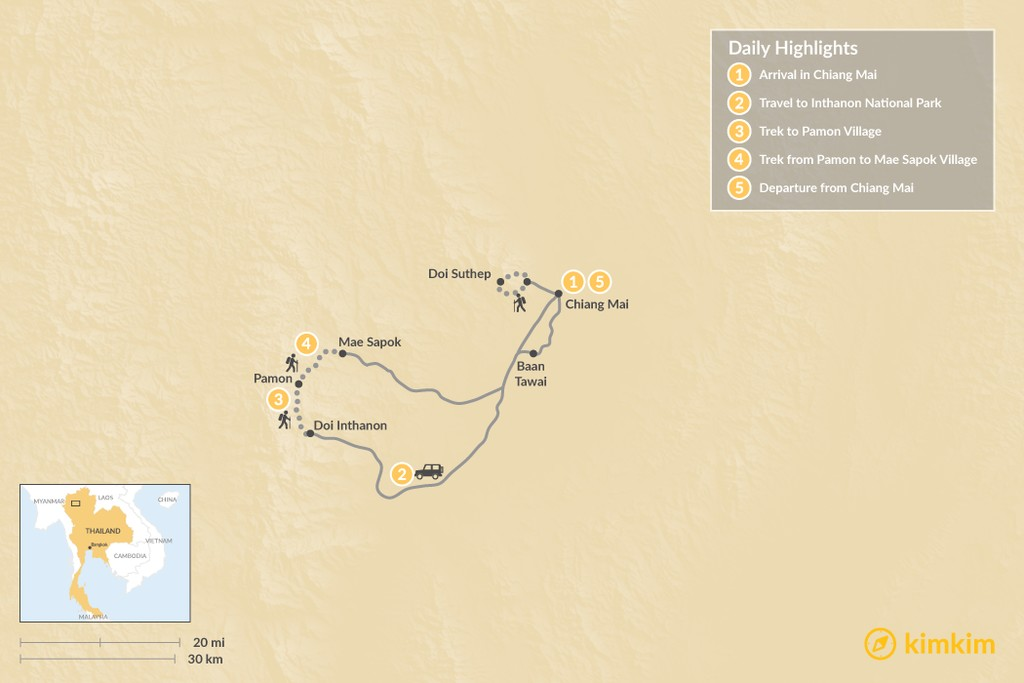 Map of Northern Thailand: Village to Village Trekking - 5 Days