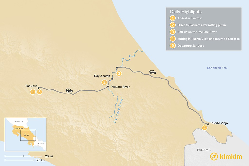 Map of Costa Rica Adventure: Whitewater Rafting and Surfing - 5 Days