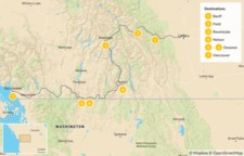 Map thumbnail of Calgary to Vancouver Road Trip: Banff, Revelstoke, Nelson, & Osoyoos - 8 Days