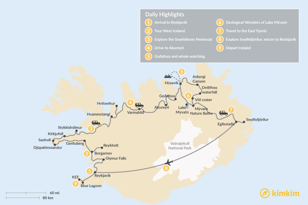 Map of Iceland Off the Beaten Path: Snæfellsnes, Akureyri,  Lake Mývatn & More - 9 Days