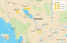 Map thumbnail of Enchanting Cambodia: Phnom Penh, Battambang & Siem Reap - 8 Days