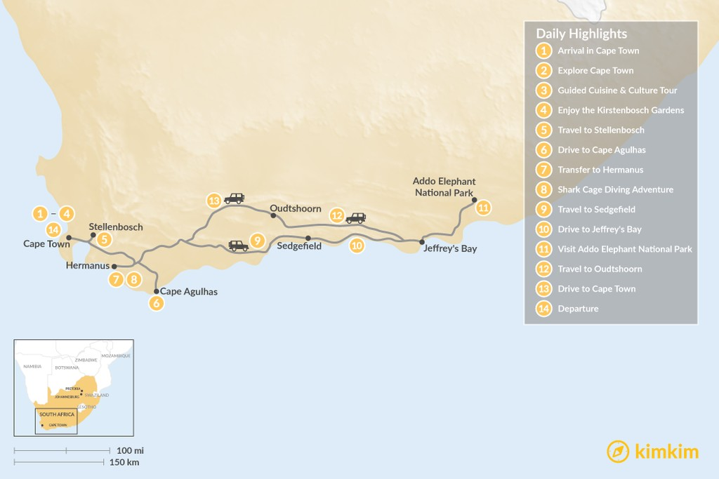 Map of Cape Town & Garden Route Adventure - 14 Days