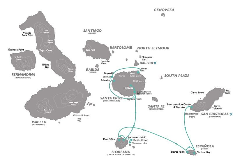 Map of Wildlife of the Galapagos - 5 Days