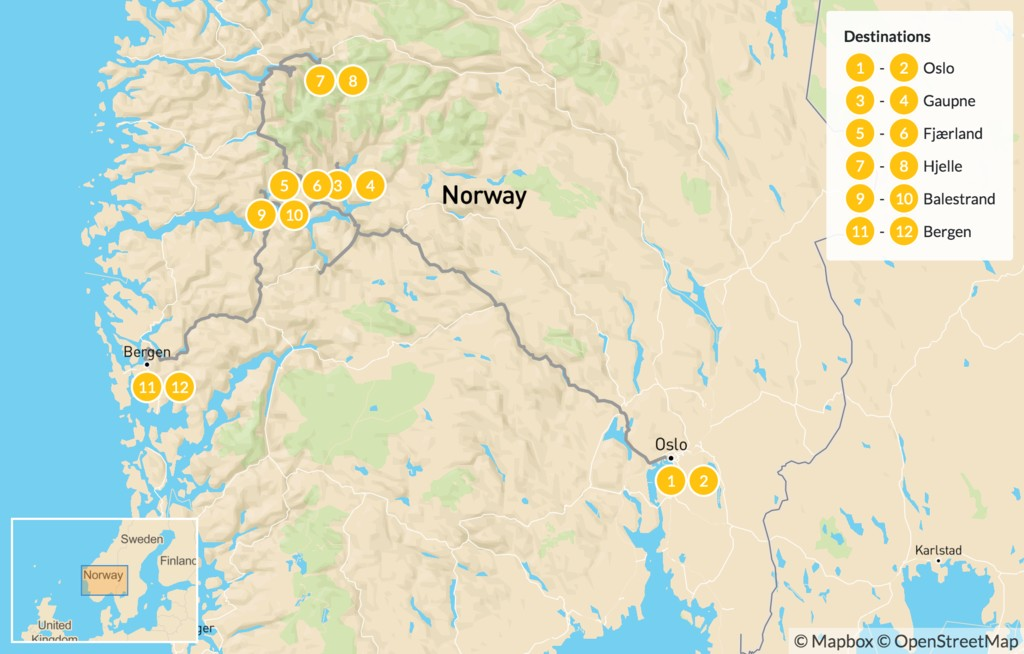 Map of Western Norway Fjord Road Trip - 13 Days