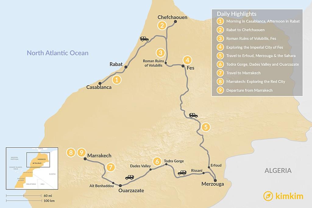 Map of A Taste of Morocco: Casablanca to Marrakech - 9 Days